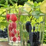 Heidelbeeren Himbeeren Im Glas Mit Wasser